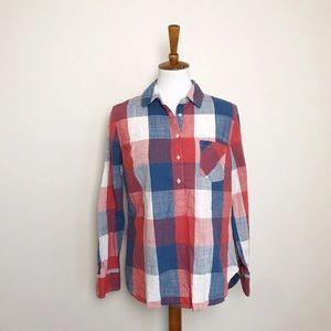 Merona plaid dotted pop over blouse